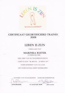Certificaat Gecertificeerd trainer Leren is zijn